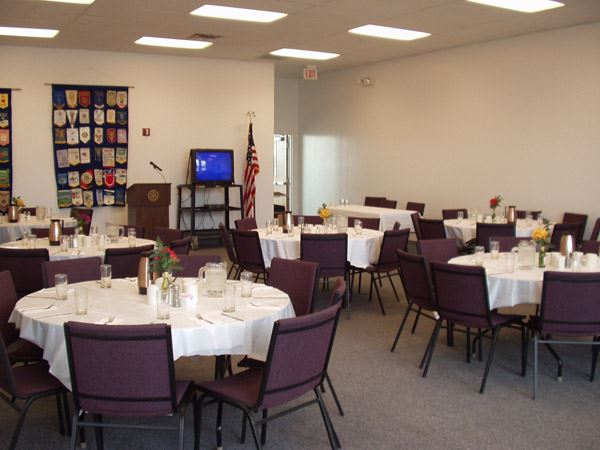 Community Room set up for event with podium