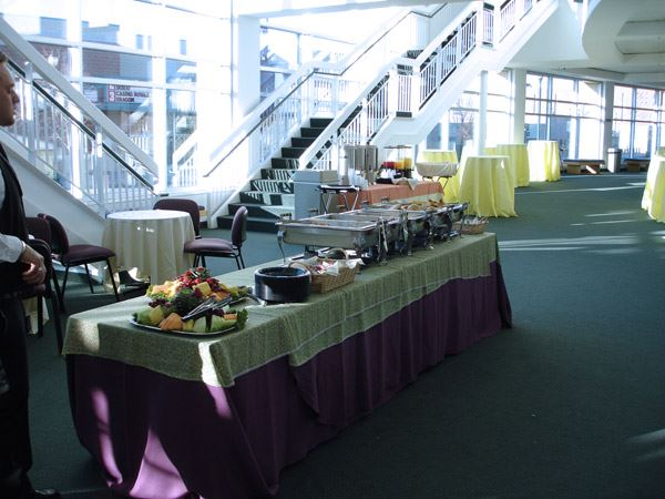 Lobby with buffet table for an event